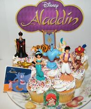 Disney Aladdin Movie Cake Topper 12 Set with 10 Figures, Aladdin Sticker, Ring,