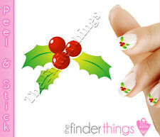 Christmas Mistletoe and Holly Nail Art Decal Sticker Set CMS002