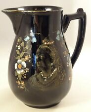 "Antique Queen Victoria Diamond Jubilee 6 1/4"" Black Gilded Jug Pitcher 1897"
