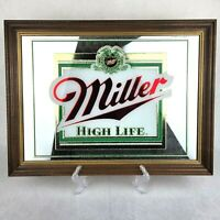 "Vintage Miller High Life bar mirror, 15"" X 20"" Wood Framed Man Cave Beer"