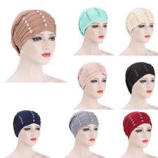 Muslim Women's Hair Loss Cover Chemo Cap Turban Hijab Head Scarf Warp Beanie Hat