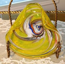 VINTAGE MURANO ART GLASS Italian Candy Dish Bowl, Ashtray Multi Color Swirl