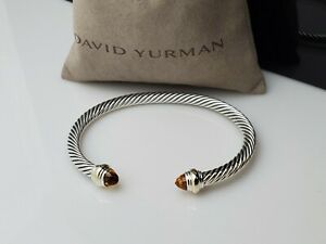 David Yurman Cable Classic Bracelet with Citrine and 14K Gold, 5mm Size S