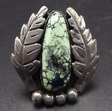 Heavy Vintage NAVAJO Sterling Silver & DAMELE TURQUOISE RING size 6.25