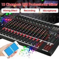 48V  8/12 Channel  Phantom bluetooth Live Studio Audio Mixing Console W/Wifi USB
