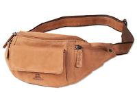 Woodland® große Bauchtasche mit viel Platz und Voll - Leder Ausstattung in Braun