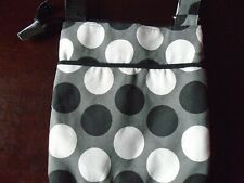 THIRTY ONE - GRAY CROSSBODY PURSE WITH BLACK & WHITE POLKA DOTS - NEW