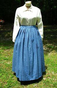 CIVIL WAR DRESS~VICTORIAN STYLE-100% COTTON BLUE PATTERNED CAMP/WORK SKIRT~