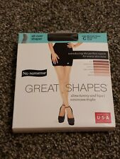 No Nonsense Great Shapes Pantyhose Size C Midnight Black Sheer Toe CC6 New