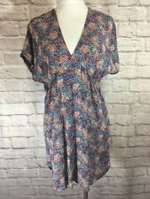LUX Urban Outfitters Shirt SZ XS Purple Blue Empire Waist Babydoll Top #7299