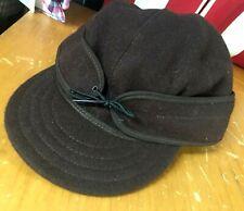 Original STORMY KROMER brown Cap hunting Hat sz 7 5/8 USA Wool Nylon EUC winter