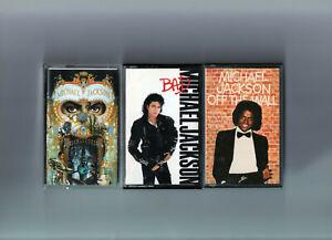 lot 3 cassettes K7 audio MICHAEL JACKSON - OFF THE WALL - BAD - DANGEROUS