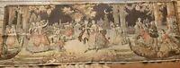 """Vtg Tapestry Dancing Ballroom Victorian Scene Belgium Society In the Park 20x58"""""""