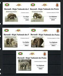 Burundi 2012 Sc#1196a-d,#1221  African Elephants  MNH Imp. Mini Sheet Set $20.80
