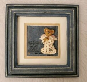 "Multi Color Angel Bear Serenity Prayer Picture LOOK Plaque Size 6.5"" x 6.5"""