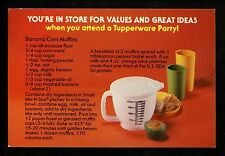 Recipe Advertising US postcard Tupperware Dealer Banana Corn Muffins