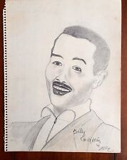 Vintage Sketch Memorabilia Art Of Jazz Music Great Billy Eckstine Self Portrait?