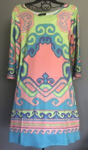 New w/o Tags White Mark Pink Green Blue Multi Color Women's Med 6-8 Dress