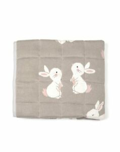 Cotton Quilted Bunny Play Mat Tummy Time Indus Design Baby Nursery Quilt