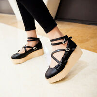 Women Girl Cute Sweet Ankle Strap Bowknot Wedges Platform Shoes Comfortable Gift