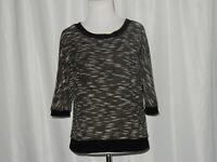 Ann Taylor Loft Women's Knit Sweater Top Size XS Black White Batwing 3/4 Sleeves