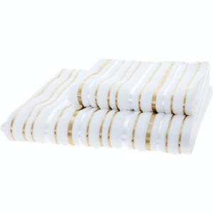 BELLA LUX White & Gold Striped Cotton Towels - Hand Towel, Bath Towel