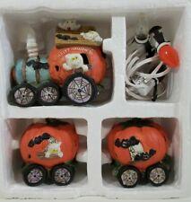 Halloween Lighted Spooky 3 Piece Ceramic Pumpkin Ghost Bats Train