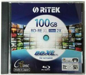 RITEK Bluray BD-RE XL Rewritable BDXL 100GB Triple Layer 2X White Printable