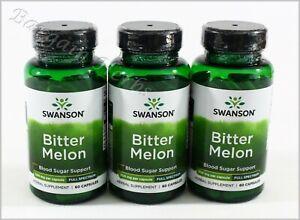 3x Swanson Bitter Melon Blood Sugar Supplement 500mg 60 Capsules Exp. 02/24