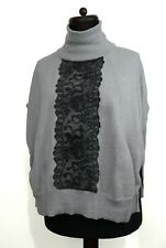 KAREN MILLEN Lace Detail Grey Wool Poncho Jumper Polo Neck Blogger XS 8 10 12