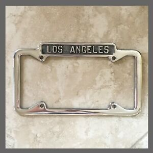 Los Angeles California Polished License Plate Frame Fits 1956-Current Plates