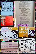 Vintage Number Bingo Game For Kids/Family/Senior 1976 Rare Complete Trend Ent.