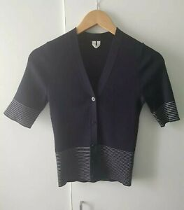 Arket Navy Merino Wool Button Up Cardigan Knit Size XS Short Sleeve Stripe