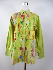 REPLAY ITALY Women's Vtg Green Cotton Embroidery Casual Shirt Blouse sz L BF68