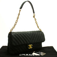 m74 CHANEL Authentic Chevron V-Stitch Chain Shoulder Bag Quilted Flap Glitter
