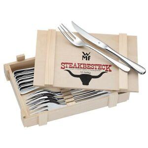 WMF Steakbesteck in Holzkassette 12-teilig Edelstahl silber