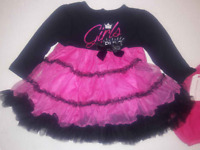 Dressy Baby 2 PC Dress Tiered Ruffle Black Pink New Infant Girl 3-6 months mos
