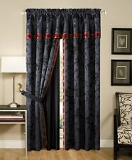 4-Pc Palace Jacquard Window Curtain/Drape Set w/ Sheer Backing, Black/Gold/Red
