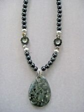 Stunning Oval Larvikite Gemstone Pendant Necklace with Tourmaline Beads