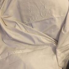 Drap Ancien En Lin Et Coton Linge Blanc De Maison Lit Brodé Monogrammé