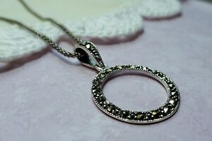 My S Collection 925 Sterling Silver & Marcasite Circle Pendant with chain