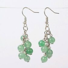 1 Green Aventurine Pair of Platinum Plated Gemstone Dangle Earrings #907