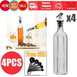 4x 500ml Olive Oil Vinegar Pourer Dispenser Glass Bottle Gadgets Kitchen Cooking