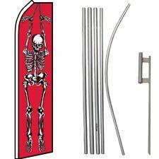 Skeleton Red / White Swooper Flag & 16ft Flagpole Kit/Ground Spike