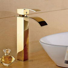 Tall Gold Polished Deck Mounted Bathroom Sink Faucet One Hole Basin Mixer Tap