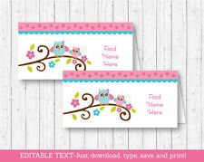 Pink Woodland Owl Buffet Tent Cards & Place Cards Editable PDF