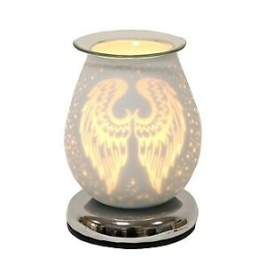 Electric Wax Melt Burner Aroma 3D Lamp White Satin Angel Wing Pattern Touch GIFT