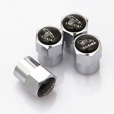 4 x Silver Chrome Tyre Valve Dust Caps (Fits JAGUAR) - BLACK