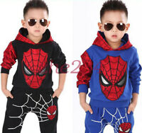 Baby Boys Long Sleeve Spiderman Hoodies Top + Pants Set Kids dress Outfits