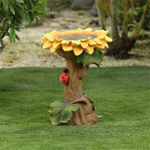Handmade Resin Sunflower Bird Bath Brown Green Polyresin Bath and Feeder 2021
